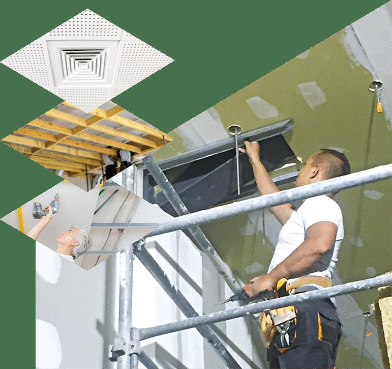 plafonds suspendus avec dalle, aménagement locaux, plafond suspendu